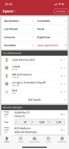 Tipico-App Startseite